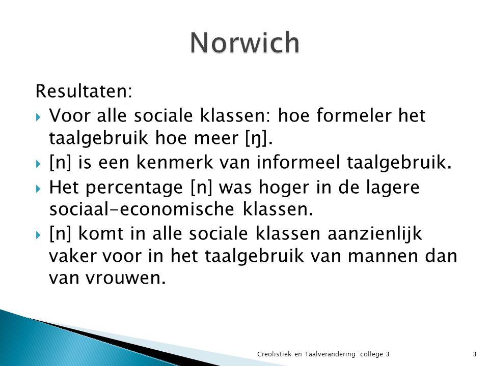 Norwich Resultaten: Voor alle sociale klassen: hoe formeler het taalgebruik hoe meer [ŋ]. [n] is een kenmerk van informeel taalgebruik.